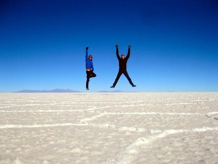 Sam and Zab on the Salar de Uyuni, Bolivia.