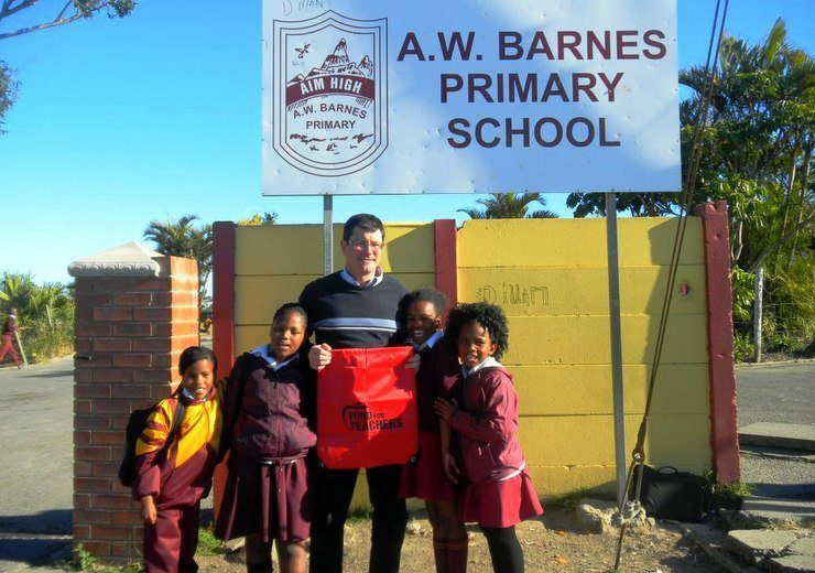 Visiting at the A.W. Barnes School in East London, South Africa.