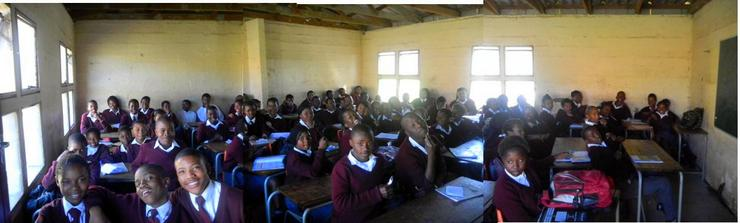 A composite shot of ONE 11th grade classroom at Lumko High School, East London South Africa (there are 82 students in this class!).