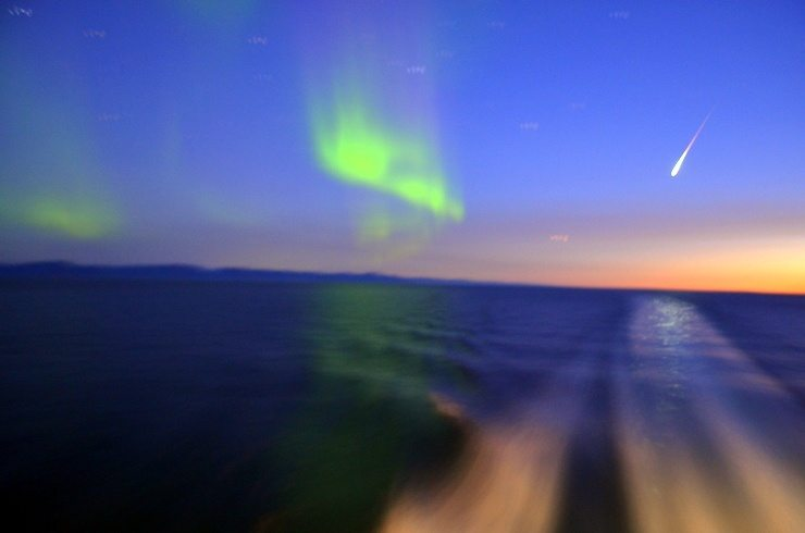 The Northern Lights and a shooting star on Crystal's first night of the trip.