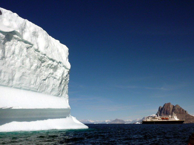 National Geographic Explorer and giant iceberg.