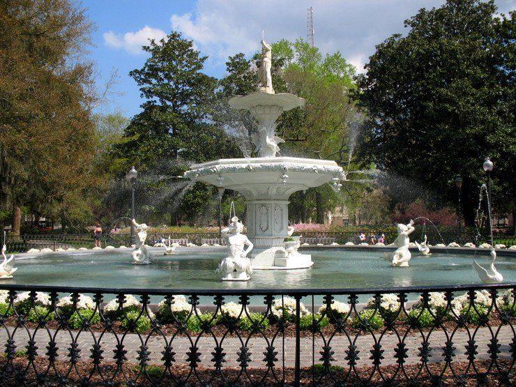 Historic Savannah's Forsyth Park fountain.