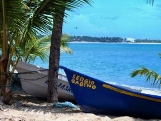 Boats ashore on Cabarete, a Dominican Republic beach.