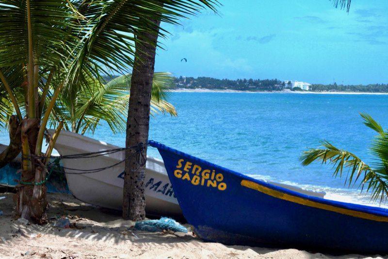 Boats ashore on Cabarete, a Dominican Republic beach.