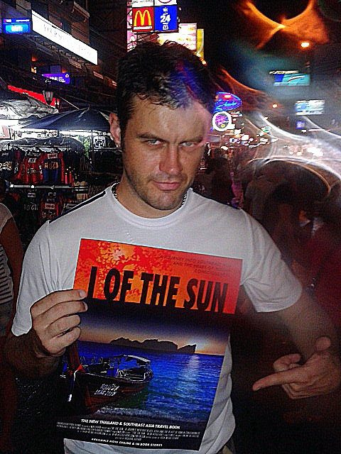 Richard promoting his book in Khao San Road, Bankok, Thailand.