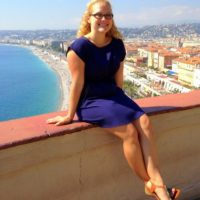 Dana on a weekend trip to Nice, France in September 2013, just before her teaching contract in France started!