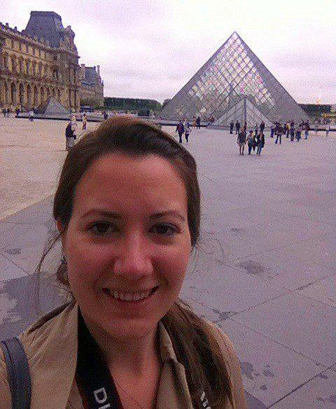 Katie near the Louvre, in Paris (she visited the Musée des Arts Décoratifs, and the Musée de la Mode et du Textile).