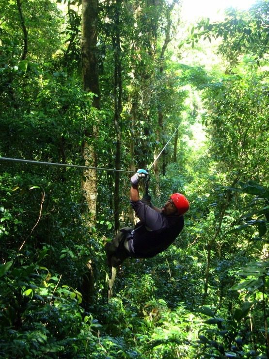 On a zip Line in Costa Rica!