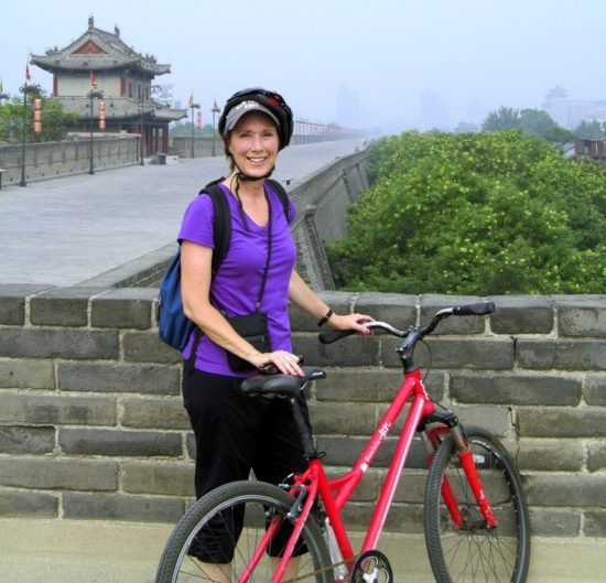 Biking the 8-mile city wall in Xi'an was exhilarating and afforded a view of the old city center.