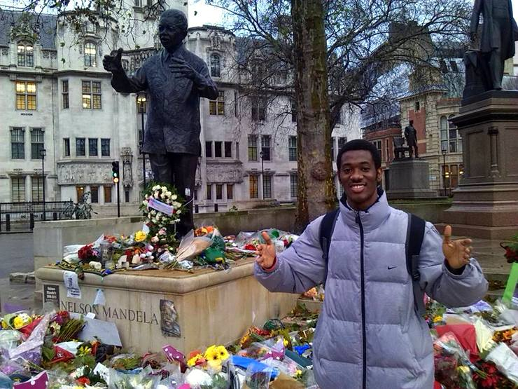 Celebrating Nelson Mandela at Parliament Square, London.