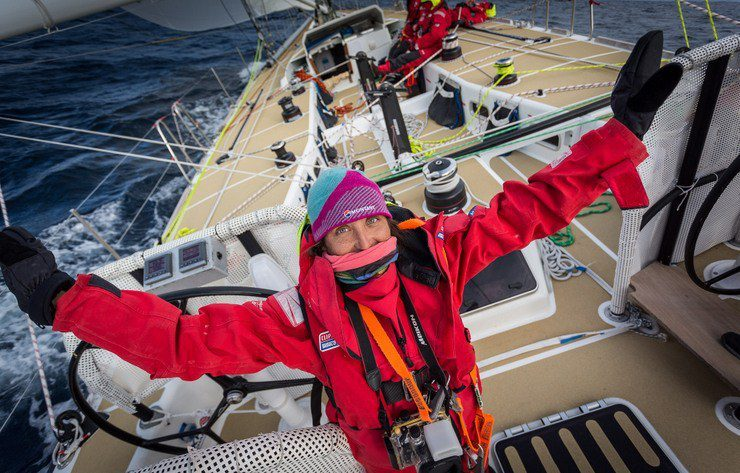 Tasha on her boat during the Clipper  Race from South Africa to Australia.