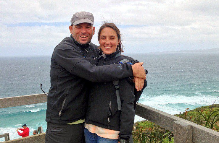 Tasha and Ryan celebrating their  arrival to Albany, Australia after 3 weeks at sea in the Clipper Race.