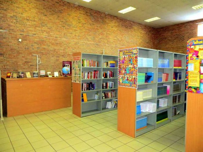 A picture of one of the libraries Mica built with another Fulbright in South Africa.