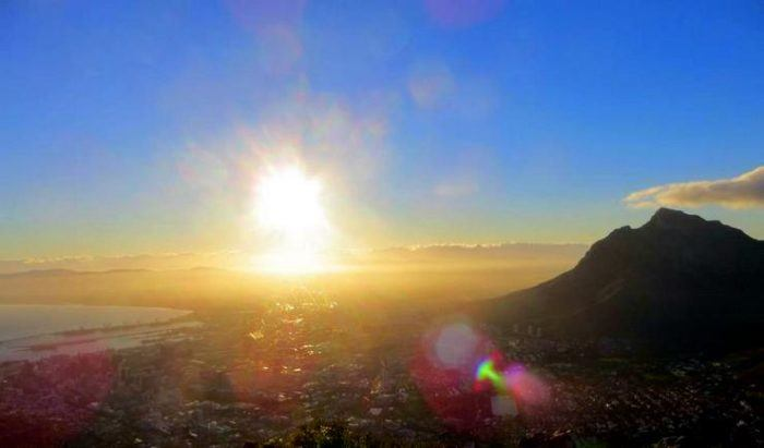 The view of Cape Town from Lion's Head.