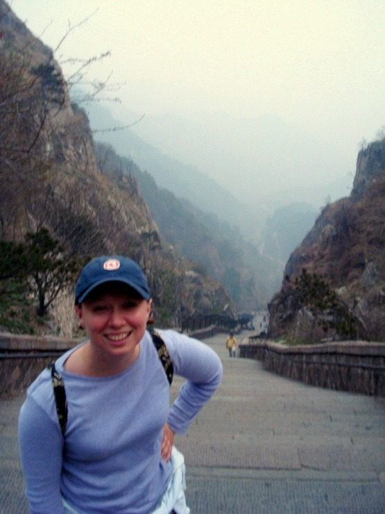 Climbing Mount Taishan in Shandong Province, China.