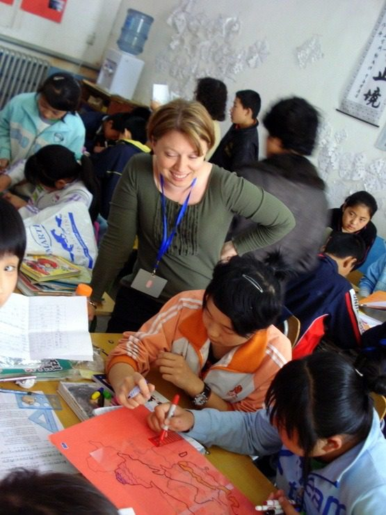 Kelly teaching at the Dandelion School, Daxing District, Beijing, China.