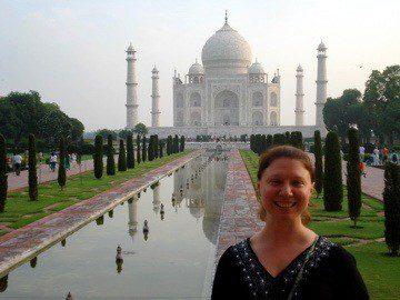Kelly at the Taj Mahal, Agra, India.