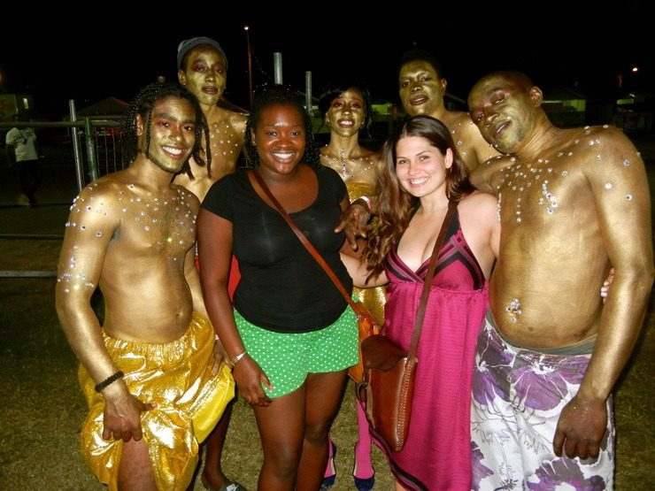Amanda at Carnival in Trinidad with some friends.