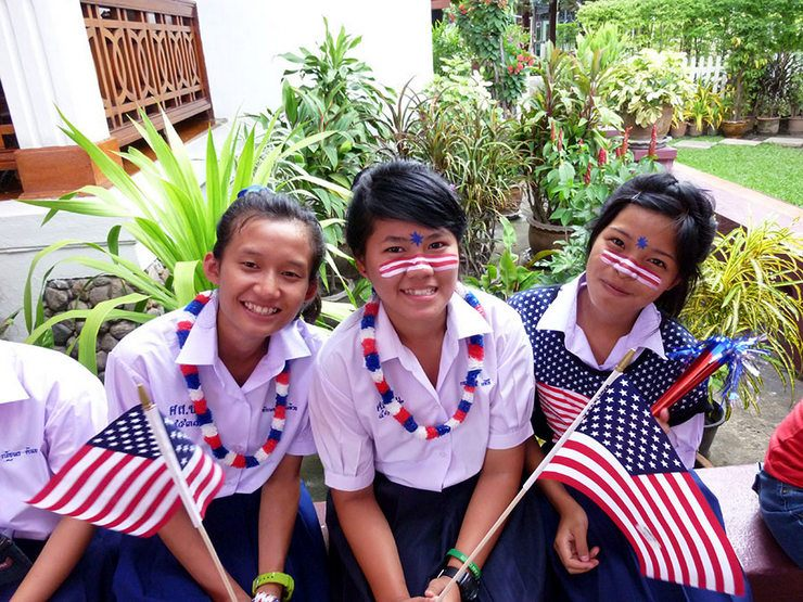 4th of July with Lani's school, at the US Consulate in Chiang Mai, Thailand, 2013.