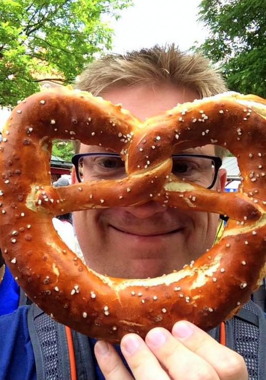 Mike with a giant pretzel in Munich.