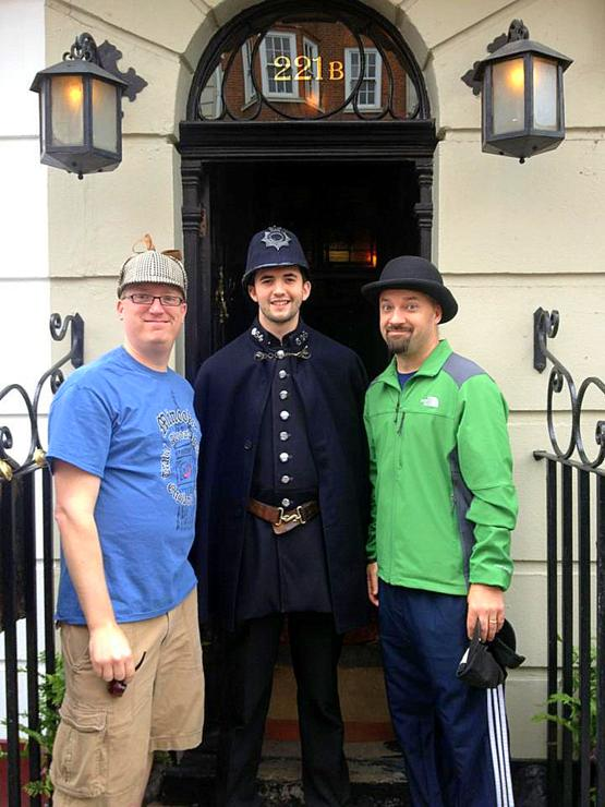 Mike with Kris Doerr, his teaching/traveling partner, at Sherlock Holmes' house in London.