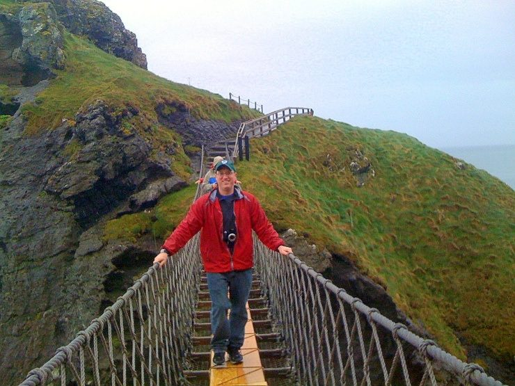 Mike at the Carrick-a-rede Rope Bridge in Northern Ireland.