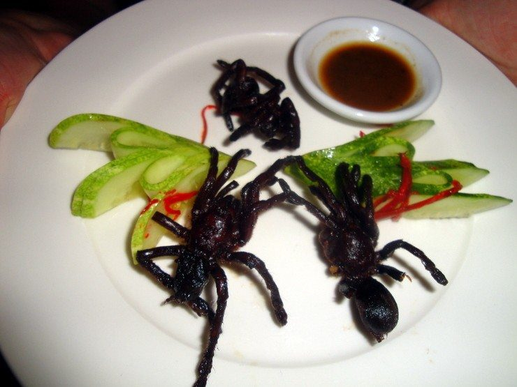 Seam Reap, Cambodia: Tarantulas as an appetizer. Proof that everything tastes better fried and with dipping sauce!