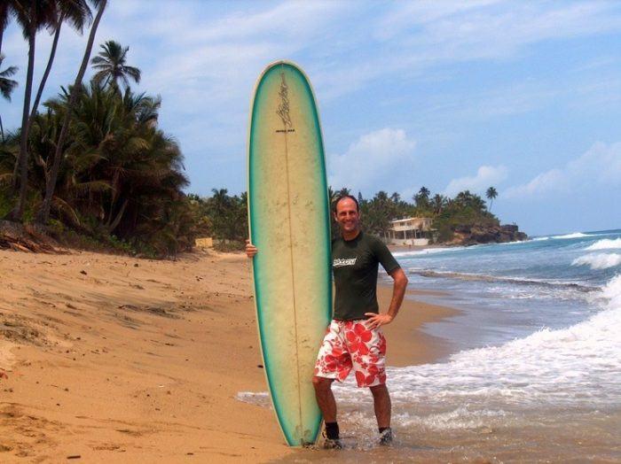 Adam surfing in Puerto Rico.