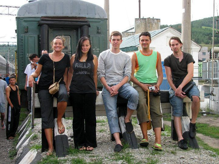 Nicole (far left) with fellow Trans-Siberian travelers.