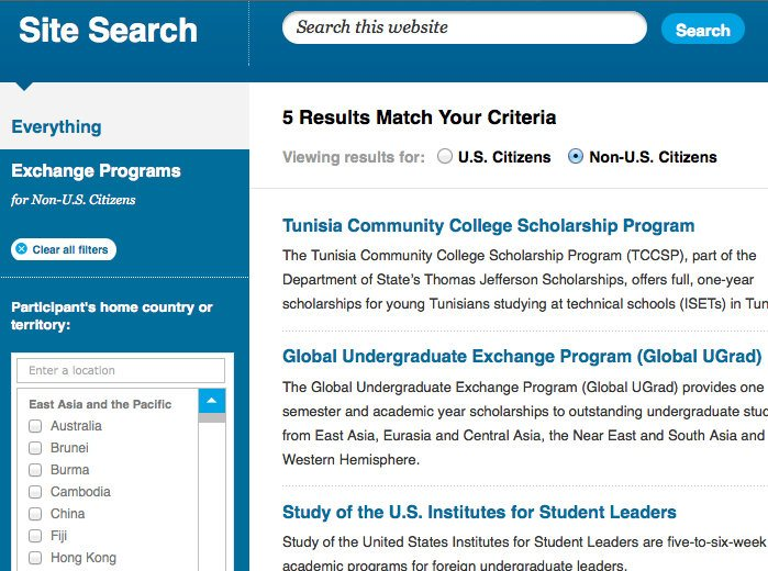 So many matches for travel scholarships, and ways to refine the search!