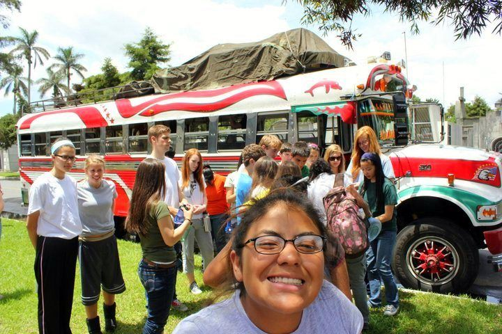 One of the groups Reagan led to Guatemala, and their bus.