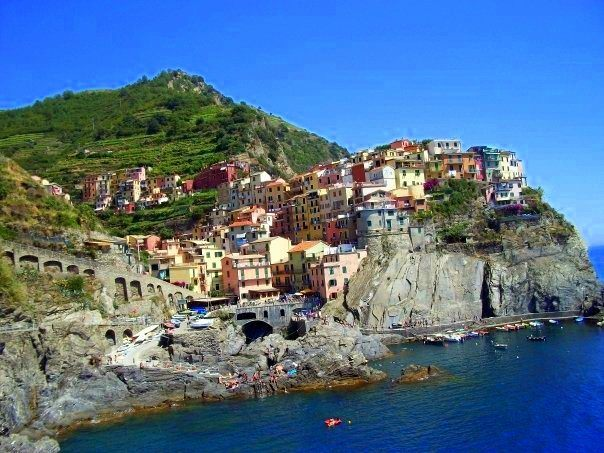 "View from the ""Lover's Lane"" path through Italy's antique fishing villages, Cinque Terre, Italy."