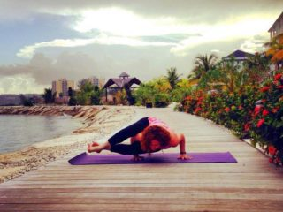 Morning yoga practice before class begins at Secrets St. James in Montego Bay, Jamaica.