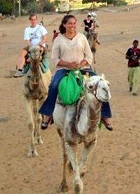 Riding a camel during Egypt travel.
