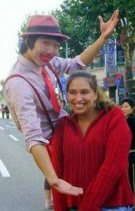 Enjoying the company of a clown in Korea.