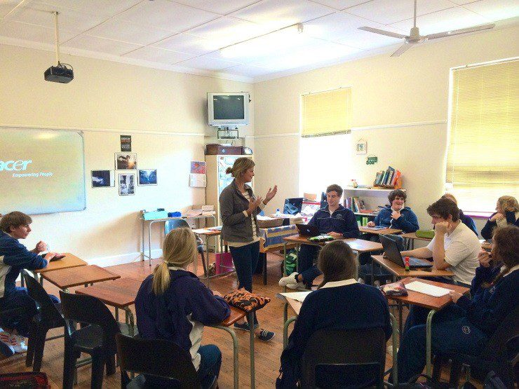 Haleigh leading her class of 11th graders through the day's lesson at Oakhill School.