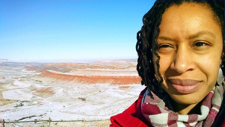 A selfie Fenesha took while driving from a workshop in Wyoming.