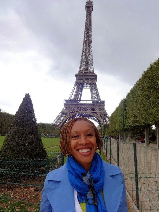 In Paris, France at the Eiffel tower.