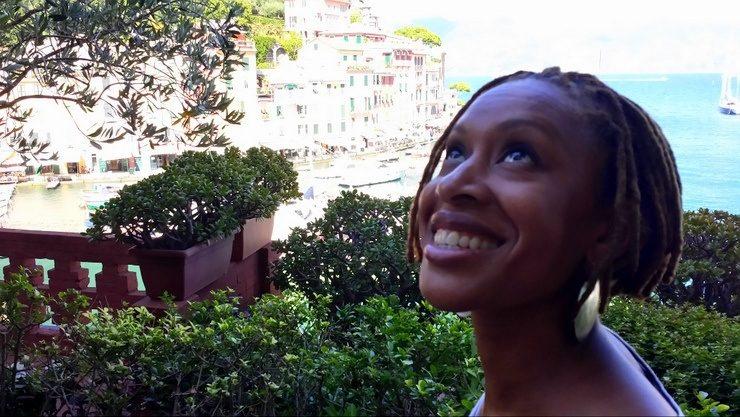 Looking happy in Portofino, Italy.