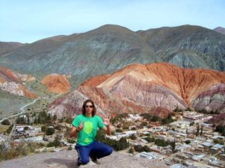 Phil traveling during a break from teaching in Mexico, at the Hill of 7 Colors in Argentina.