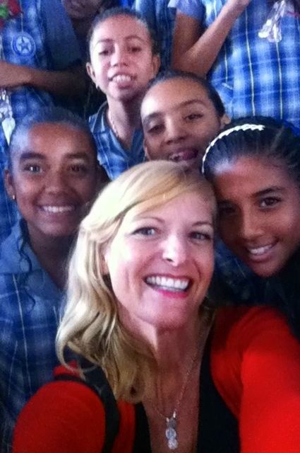"""Kate with her beautiful 5th grade girls in Barranquilla, the day of their """"graduation"""" into secondary school."""