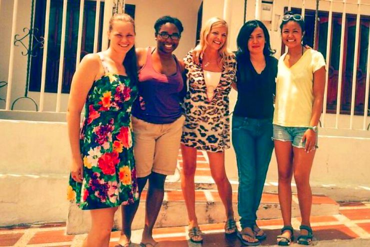 With WorldTeach Colombia 2015 volunteers and Kate's former host sister, Marina (in the black shirt) from her year in Barranquilla, 2014.