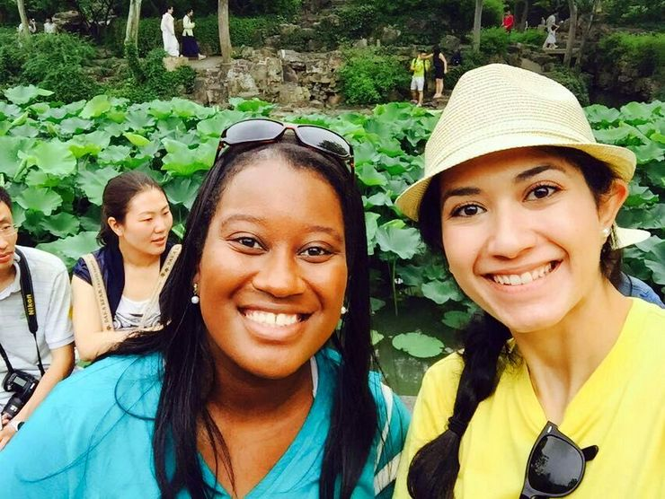 Candace with her colleague and roommate at The Humble Administrator's Garden in Suzhou, China.