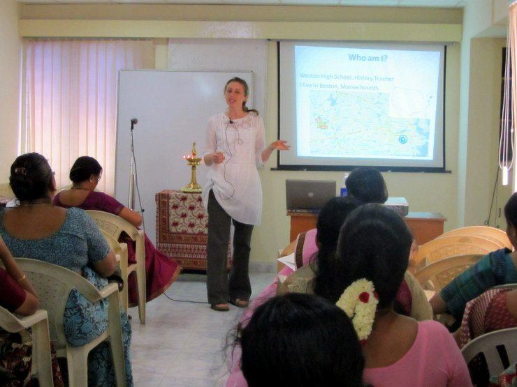 Teaching a professional development workshop to Social Studies teachers in Chennai, India on 21st Century Learning.