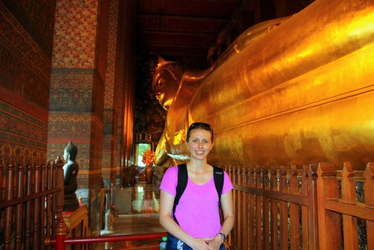Visiting a Buddhist Temple in Bangkok, Thailand.
