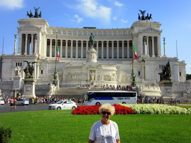 At the Victor Immanuel Monument in Rome, Italy.