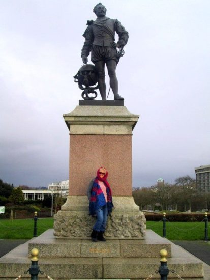 At Plymouth, England with a statue of Sir Francis Drake of Spanish Armada fame.