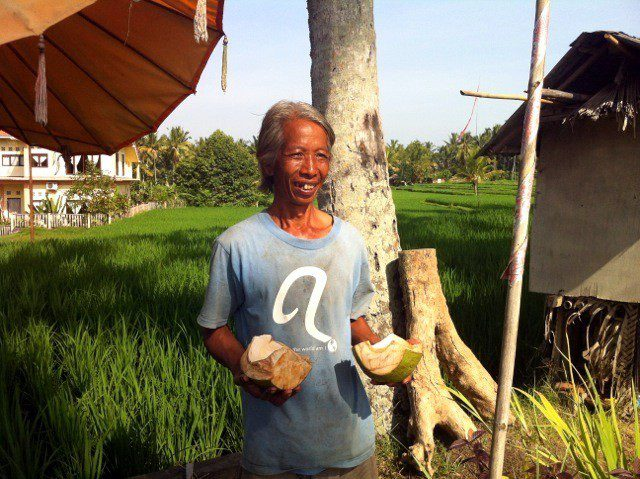 The coconut man in Ubud, Bali.