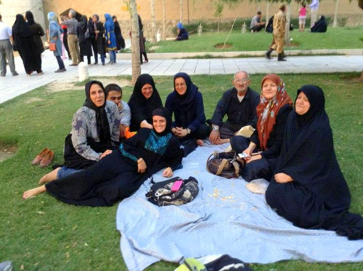 Nuria having a lovely picnic in Iran with locals.