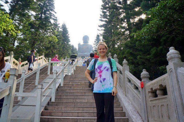 Climbing to see the Big Buddha in Hong Kong.